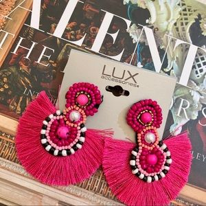 NWT LUX Pink Beaded Fringe Statement Earrings